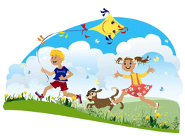 Illustration of kids playing with a dog.